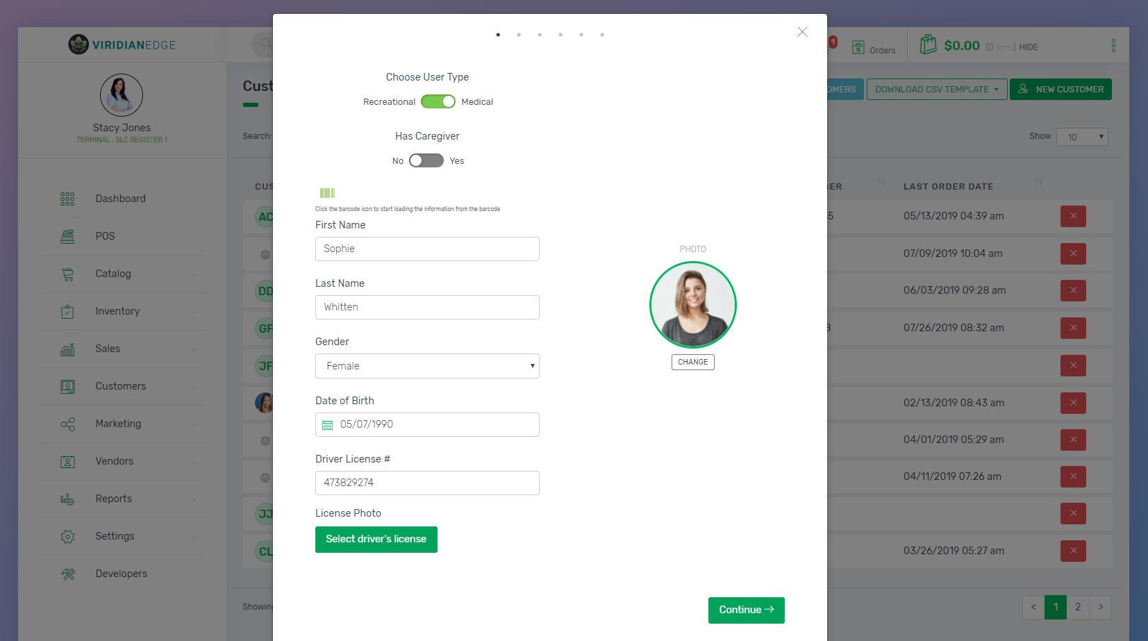 Slide 6 - Create Customer screen
