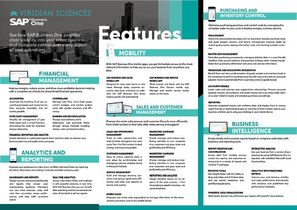 Viridian Sciences ERP-Features